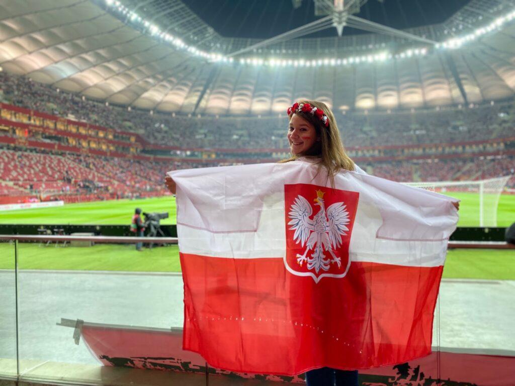 Angelika at a Polish soccer game