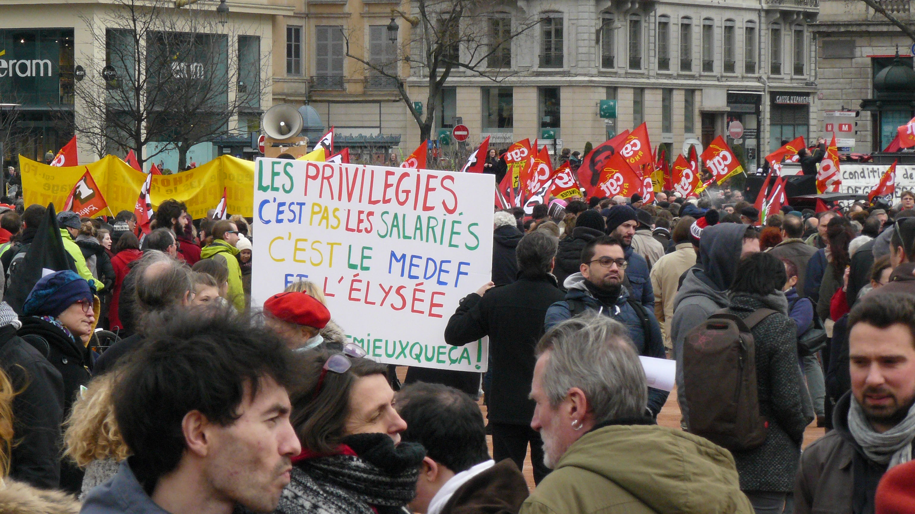 Protesters in Lyon