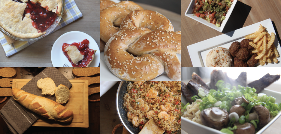 6 image selections from the #aroundtheglobowlin80days collaboration event. Features cherry pie, french bread, pretzels, spanish paella, meatballs, and ramen noodles.